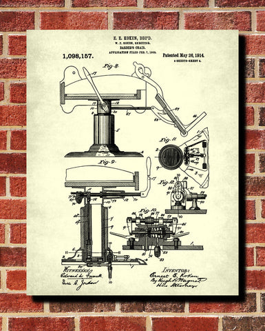 Barbers Chair Patent Print Hairdressing Salon Wall Art Poster