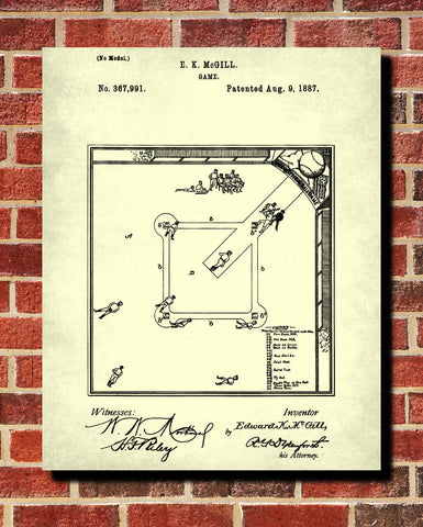 Baseball Diamond Blueprint Sports Poster Patent Print - OnTrendAndFab