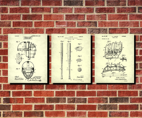 Baseball Patent Prints Set 3 Sports Blueprint Posters