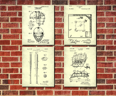 Baseball Patent Prints Set 4 Sports Blueprint Posters