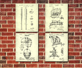 Baseball Patent Print Set 4 Sports Blueprint Posters