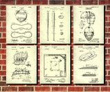 Baseball Patent Prints Set 6 Sports Blueprint Posters