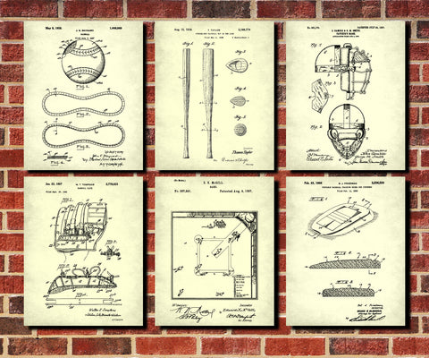 Baseball patent prints set 6 sports blueprint posters ontrendandfab baseball patent prints set 6 sports blueprint posters malvernweather Image collections