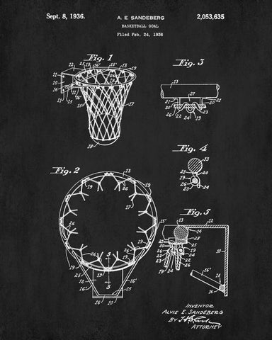 Basketball hoop patent print sports blueprint art poster basketball hoop patent print sports blueprint art poster malvernweather Image collections