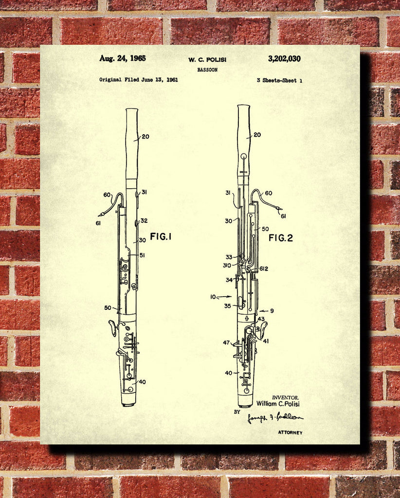 Bassoon Patent Print Orchestra Musical Instrument Wall Art Poster ...