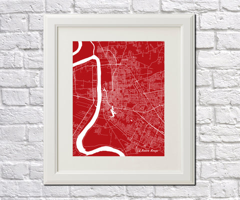 Baton Rouge, Louisiana Street Map Print Feature Wall Art Poster