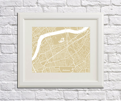 Battersea London Street Map Print Feature Wall Art Poster