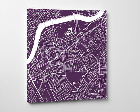 Battersea, England Street Map Print Custom Wall Map