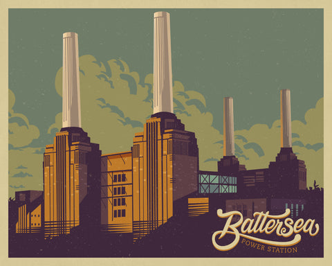 Battersea Power Station Print Vintage London Travel Poster Art