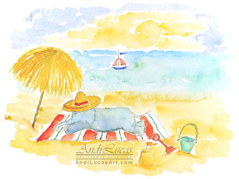 Beach Elephant Cute Children's Nursery Wall Art Print