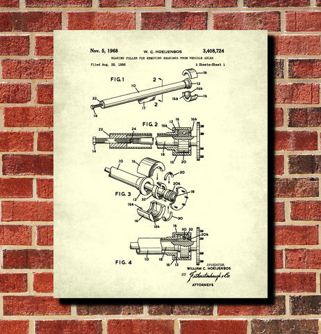 Axle Bearing Puller Patent Print Garage Blueprint Workshop Poster