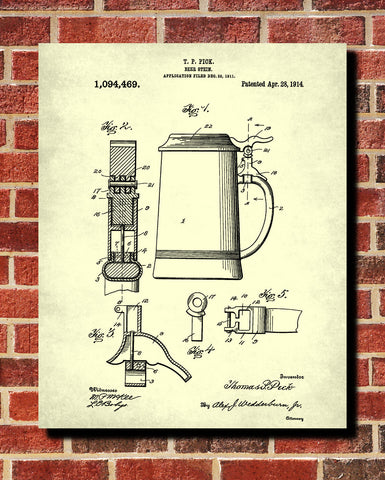 Beer Patent Print Bar Poster Pub Wall Poster Cafe Art