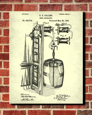 Bar Poster Beer Patent Print Cafe Art Pub Wall Poster - OnTrendAndFab