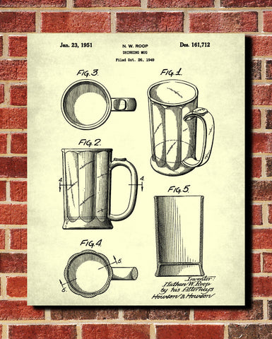 Bar Poster Beer Glass Patent Print Pub Wall Poster Cafe Art - OnTrendAndFab