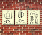 Beer Glass Patent Prints Set 3 Bar Art Cafe Posters - OnTrendAndFab