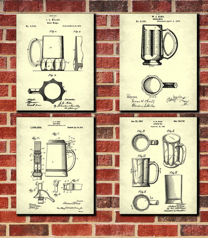 Beer Glass Patent Prints Set 4 Bar Art Ale Tankard Posters - OnTrendAndFab
