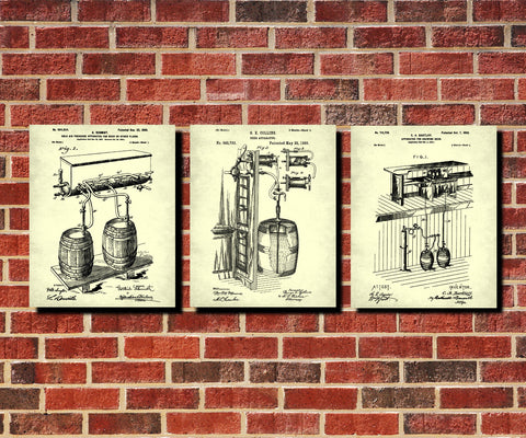 Beer Patent Prints Set 3 Bar Wall Art Cafe Posters - OnTrendAndFab