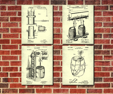 Tavern Wall Art Beer Patent Prints Set 4 Brewing Posters - OnTrendAndFab