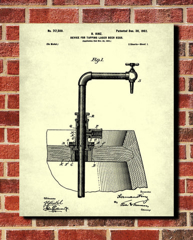 Bar Poster Beer Tap Patent Print Pub Wall Cafe Art - OnTrendAndFab