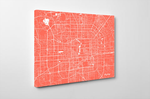 Beijing City Street Map Print Feature Wall Art Poster