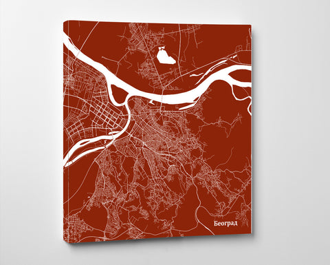 Belgrade City Street Map Custom Wall Map Poster - OnTrendAndFab