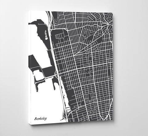 Berkeley City Street Map Print Feature Wall Art Poster