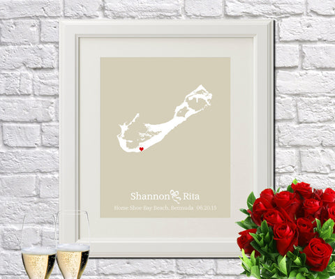Bermuda Custom Wedding Engagement Art Print - OnTrendAndFab