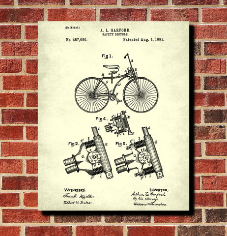 Vintage Bicycle Blueprint Cycling Patent Print Poster