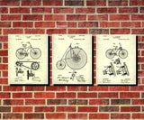 Bicycle Patent Prints Set 3 Cycling Blueprint Posters