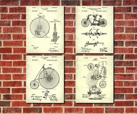 Bicycle Patent Prints Set 4 Cycling Blueprint Posters