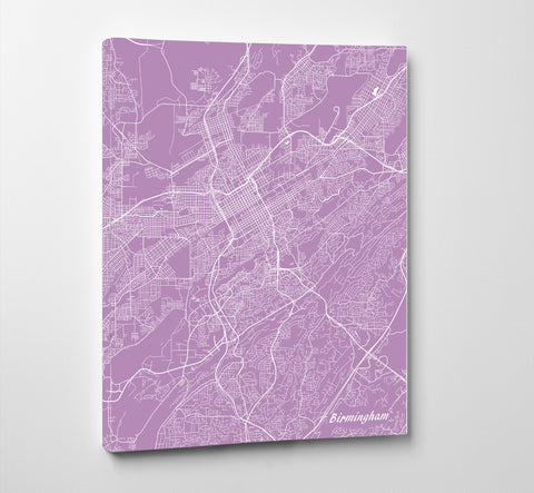 Birmingham Alabama City Street Map Print Custom Wall Map
