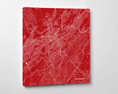 Birmingham Alabama City Street Map Print Custom Wall Map - OnTrendAndFab