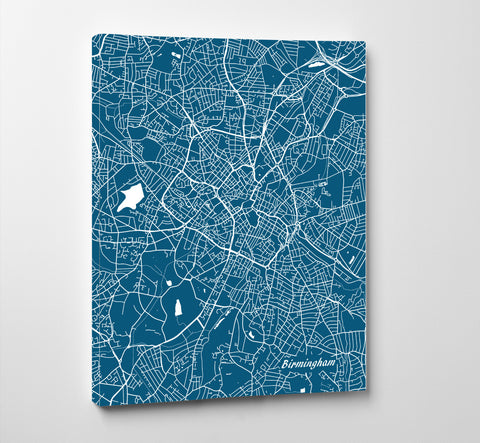 Birmingham, UK City Street Map Print Feature Wall Art Poster