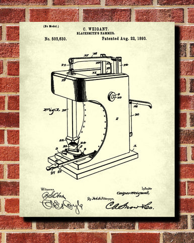 Blacksmiths Hammer Patent Print Workshop Wall Art Blueprint Poster