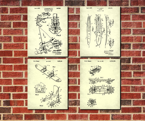 Board Sports Patent Prints Set 4 Sports Blueprint Posters