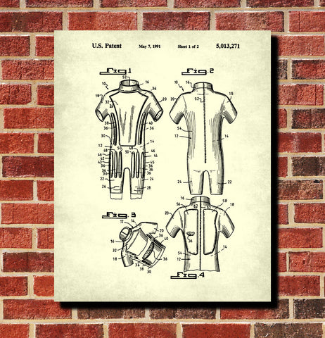 Body Surfing Suit Patent Print Wet Suit Blueprint Poster Wall Art