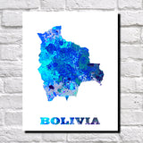 Bolivia Map Print Outline Wall Map of Bolivia