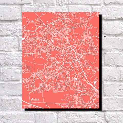 Bolton, UK City Street Map Print Feature Wall Art Poster
