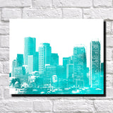 Boston City Skyline Print Landscape Poster Feature Wall Art