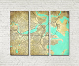 Boston MA City Street Map 3 Panel Canvas Wall Art 7112C3