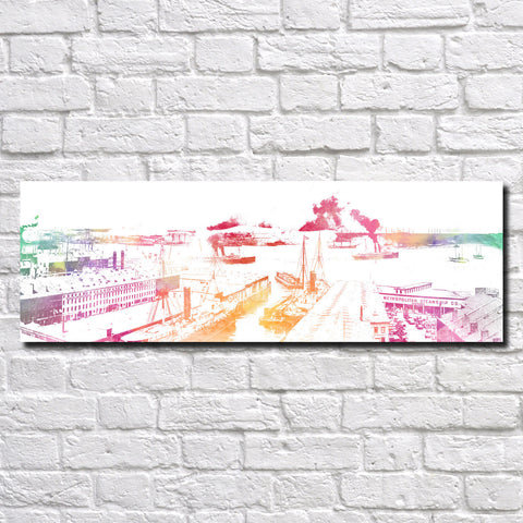 Boston Harbor Poster Panorama City Street Scene Art Print 5359
