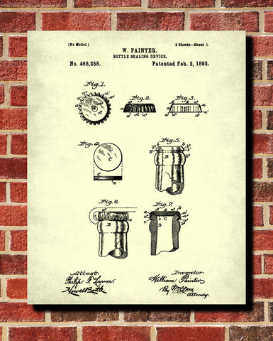 Beer Bottle Caps Patent Print Bar Poster Cafe Art