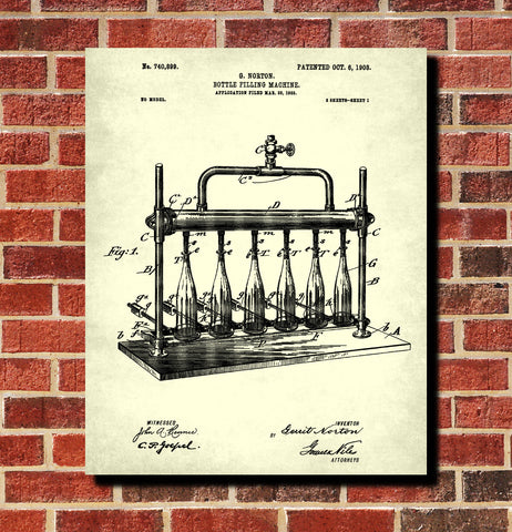 Wine Bottle Filling Bar Patent Print Cafe Poster