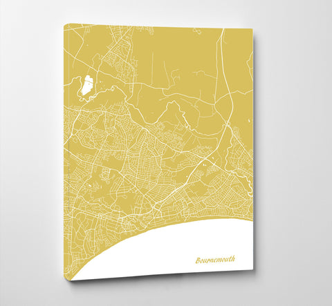 Bournemouth City Street Map Print Feature Wall Art Poster