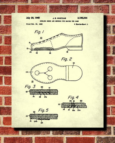 Bowling shoes patent print sports blueprint art poster ontrendandfab bowling shoes patent print sports blueprint art poster malvernweather Image collections