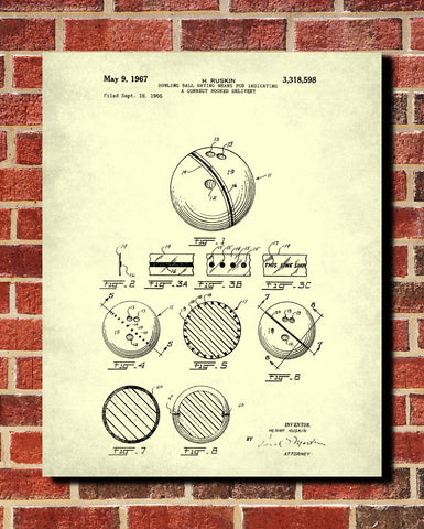 Bowling Ball Patent Print Sports Blueprint Art Poster - OnTrendAndFab