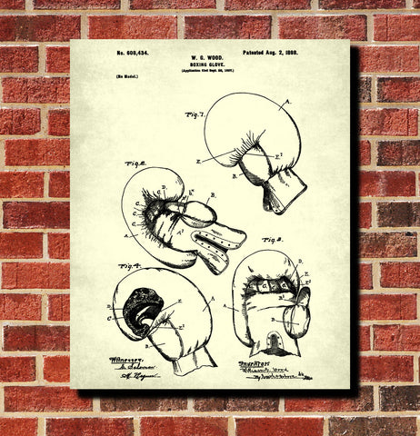 Boxing Gloves Patent Print Sports Wall Art Poster