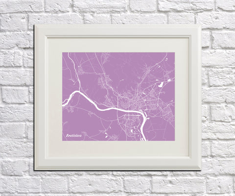 Bratislava Street Map Print Feature Wall Art Poster