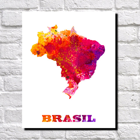 Brazil Map Print Outline Wall Map of Brazil