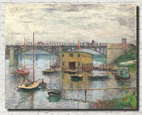 Claude Monet Fine Art Print, Bazille and Camille, Bridge at Argenteuil on a gray day